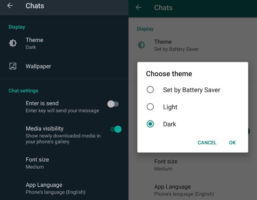 Android için Whatsapp karanlık mod