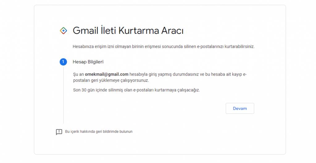 gmail silinen mailleri geri getirme